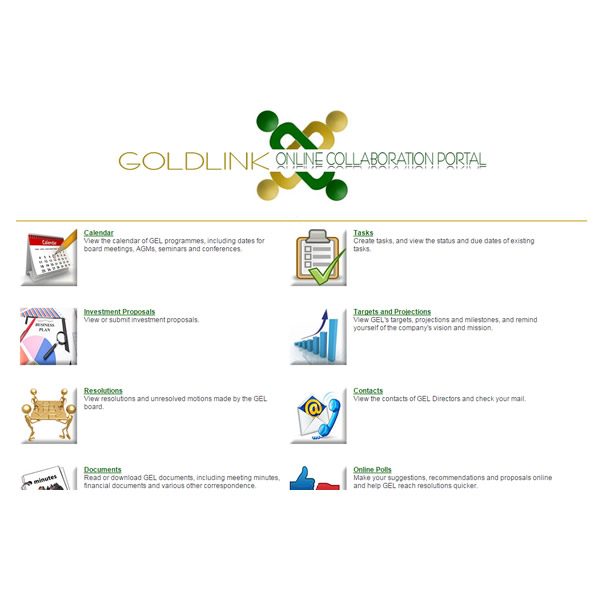 Development of online collaboration software for Goldlink Equities Ltd., Lusaka, Zambia