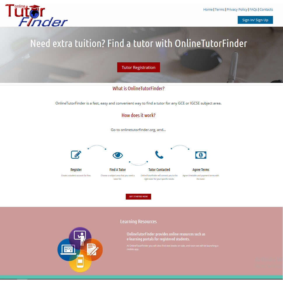 Website development and hosting, and domain administration for Online Tutor Finder, Lusaka, Zambia