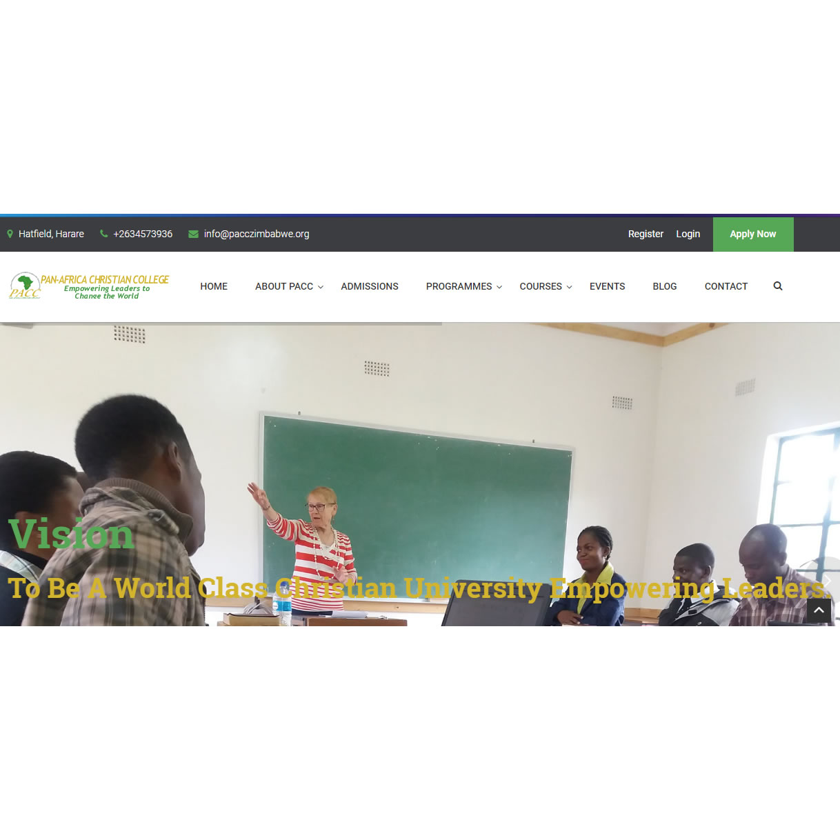 Website design for Pan Africa Christian College, Harare, Zimbabwe